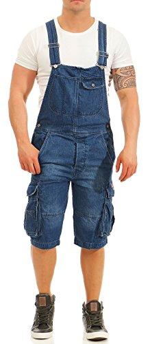 Jet Lag Herren Jeans Overall A Shorts Loose Fit Kurze Latzhose mit Cargotaschen Navy XXL