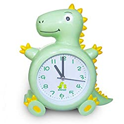 Dinosaur Kids Alarm Clocks for Boys and Girls, Ideal Gift Desk and Wall Clock for Adorable Style Bedroom and Living Room Decoration (Green)