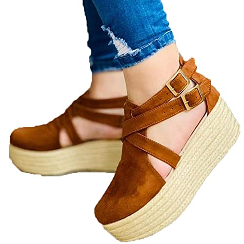 ZZLHHD Hebilla Punta Abierta Sandalias Mujer Plataforma Comoda,Thick Bottom Package Head Muffin Shoes, Buckle Casual Sandals-Brown_40,B1