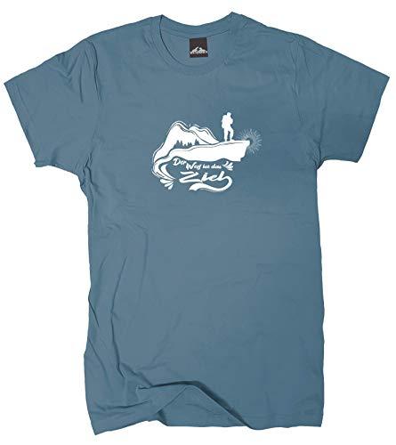 Wolkenbruch® T-Shirt Der Weg ist das Ziel Wandern Berge, stoneblue, Gr.XL