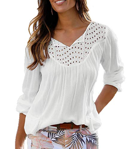 Yutila Damen Langarmshirt Spitze Patchwork Bluse Shirts mit Lochstickerei