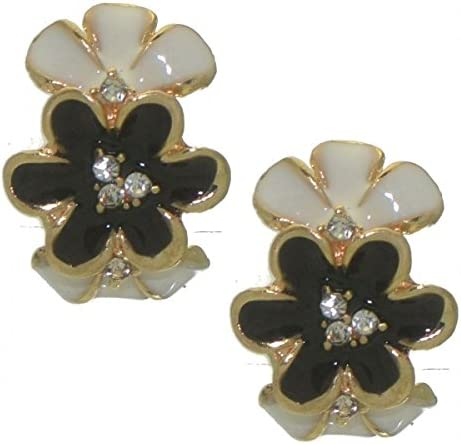 DABRIA gold tone black white crystal clip on earrings