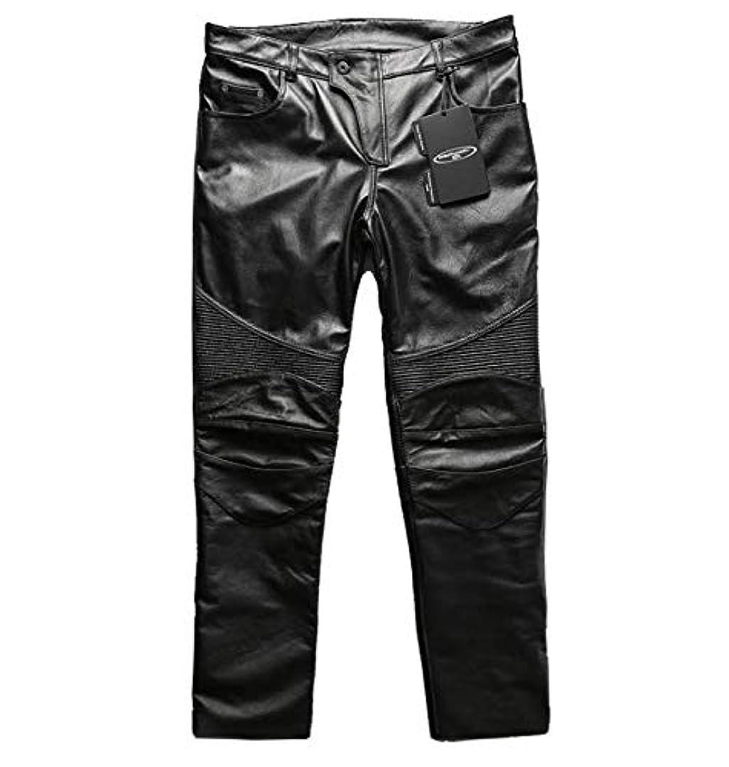 線形ぼかしスクリーチ6-19ブラック黒色ハーレー 本革レザーパンツ男性フルレザー フィット オートバイ サイクリングパンツ 機関車 レザーパンツ トレンド ズボン パンツ (L)