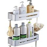 Doppellagiger Duschregal Organizer - Aluminium Badezimmer Badezimmerregale Organizer Duschablage Kein Bohren Mit Haken - für Badezimmer Küche Wohnheim