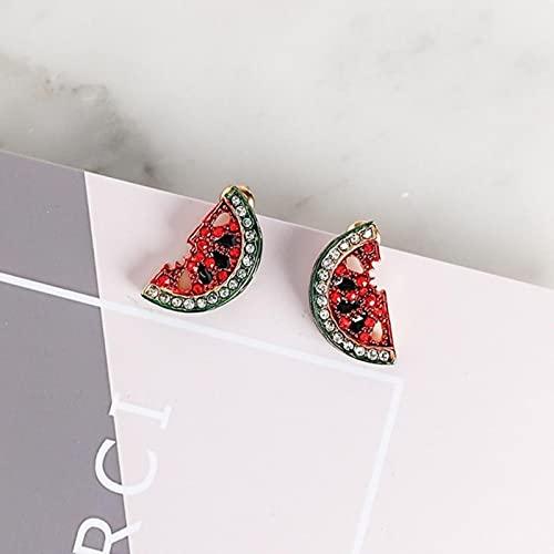 SONGK Pendientes Coreanos Lindos de Diamantes de imitación con Forma de sandía y Fresa para Mujer, Pendientes de Frutas Dulces, joyería de Moda