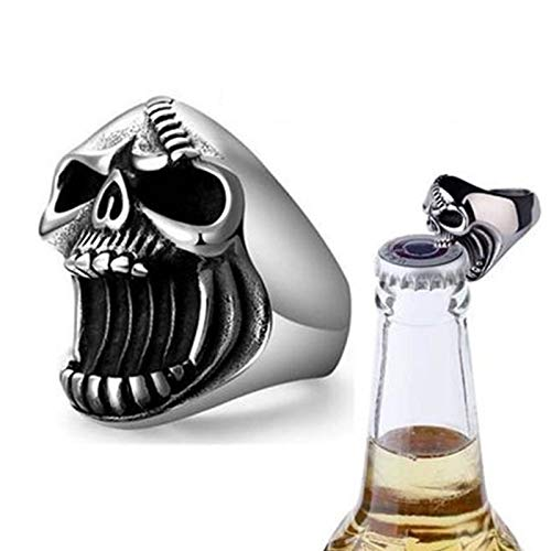Estilo Punk Alternativa Moda Anillo Creativo Accesorios Cráneo Cerveza Abrebotellas Big Mouth Ghost Head Anillo Masculino