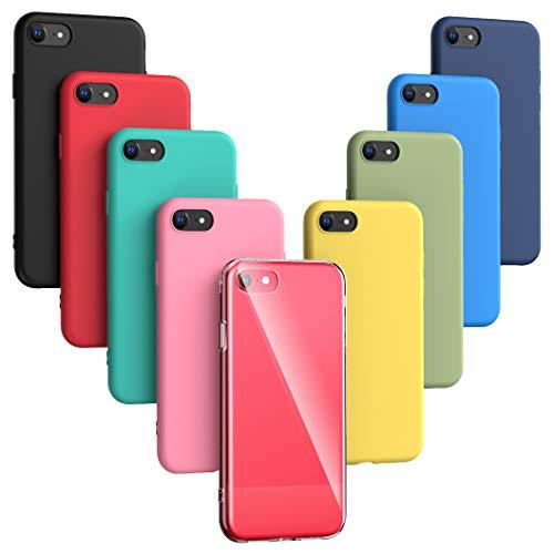 Oududianzi -9X Funda Compatible con iPhone SE 2020/7/ 8, [Serie Arcoiris] Carcasa Mate Suave en Silicona TPU [Transparente +Negro + Rosa + Azul Oscuro + Rojo + Verde Menta + Amarillo + Verde + Azul]
