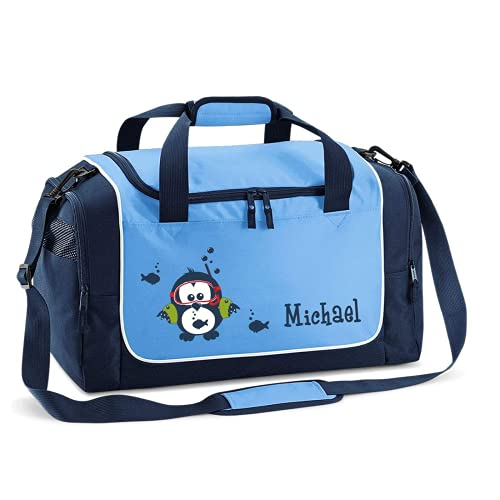 Mein Zwergenland Sporttasche Kinder personalisierbar 38L, Kindersporttasche mit Name und Eule Bedruckt in SkyBlue Blau