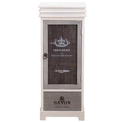 Rebecca Mobili Standvitrine im Landhausstil, Schrank 1 Schublade 1 Tür, Holz, Weiß Grau, als Wohneinrichtung für Haus Eingang Wohnzimmer – Maße: 88 x 32 x 26 cm (HxLxB) – Art. RE6093