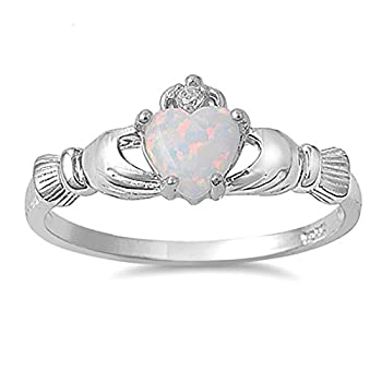 Oxford Diamond Co Irish Claddagh Lab Created White Opal Ring Sterling Silver Size 7