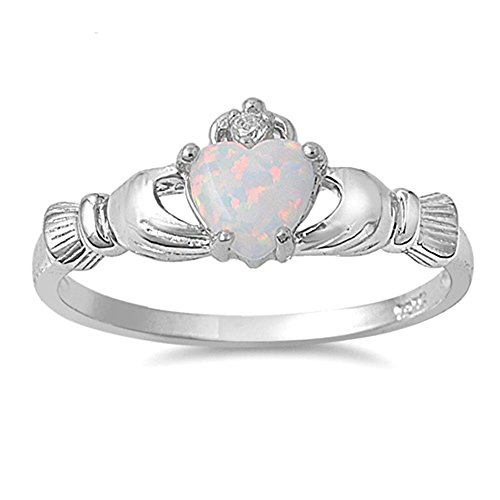 Oxford Diamond Co Irish Claddagh Lab Created White Opal Ring Sterling Silver Size 6