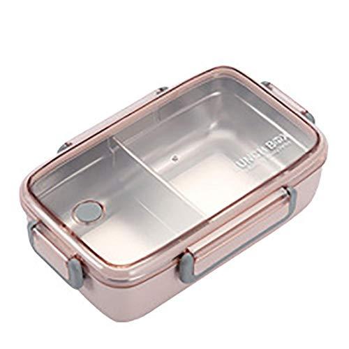 304 RVS Lunch Box Bamboe Vezel Isolatie met compartimenten Voedsel Container Student Volwassen Leuke Bento Doos 23 * 15 * 7 cm Pink_1l