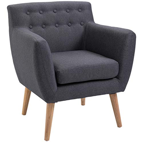 HOMCOM Scandinavian Design Armchair 68L x 59W x 75H cm Verjüngte Beine Gepolstert mit Knöpfen Dunkelgraue Melange