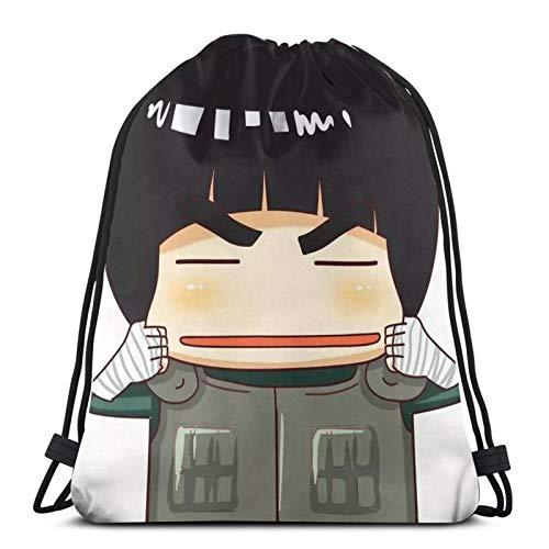 Anime NARUTO - Bolsa de gimnasio con cordón, mochila a granel, bolsa de deporte para escuela, gimnasio, viajes, niño y niña, 14.2 x 16.9 pulgadas