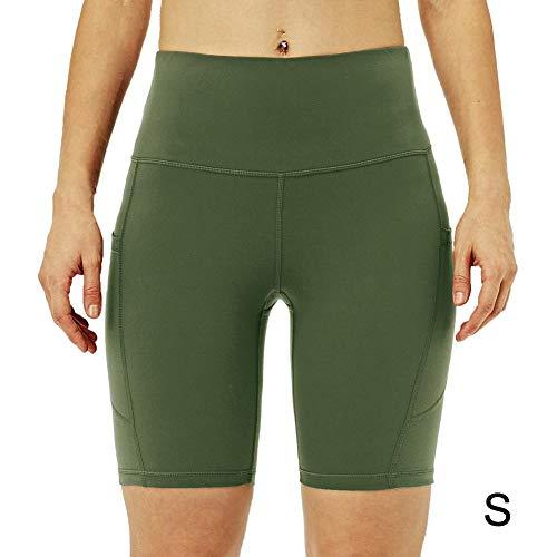 Dames yoga-short met hoge taille, atletische workout-short met 3 zakken, skinny, sneldrogende, niet-doorzichtige korte yoga-broek, legergroen