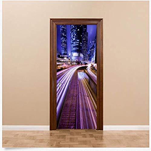 Deursticker 3D stad autobaan nachtzicht landschap deur sticker pvc waterdicht wandafbeelding 80 x 200 cm