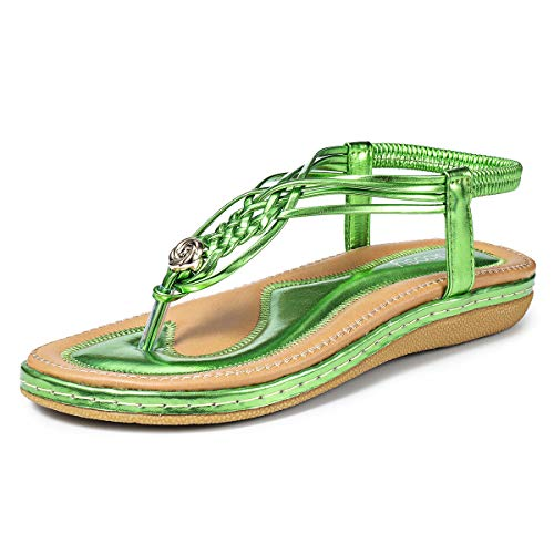 gracosy Women Summer Flat Sandals, Beach Sandals for Women with Ankle Strap Elastic T-Strap Flip Flops Comfort Summer Shoes Dressy Thongs Wide Width Casual Open Toe Gladiator Sandal Metallic Green 7.5 M US