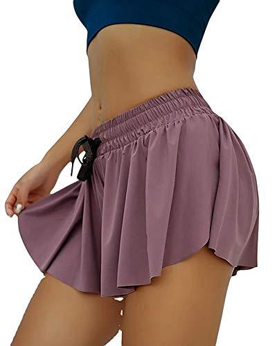 OOYT Womens 2 in 1 Flowy Fitness Shorts, Flowy Hem Ruffle Yoga Workout Casual Shorts 2XL Purple