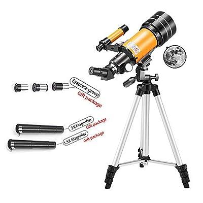 Telescope, 70mm Aperture 400mm AZ Mount Astronomical Refracting Telescope for Kids Beginners - Travel Telescope with Carry Tripod & Glass Optics