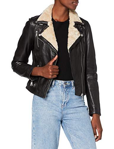 Freaky Nation Winter Biker Princess Chaqueta de cuero, negro y beige, XXL para Mujer