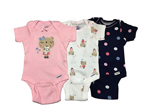 Gerber - Conjunto de bodies, para niña, bebé, 3 unidades - Multi color - 3-9 Meses