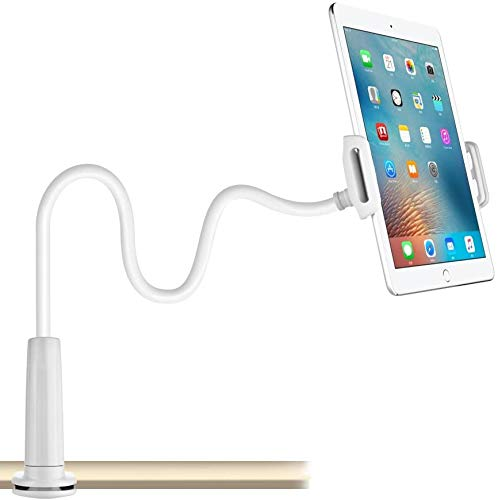 CHANG Gooseneck Tablet Holder, Tablet/Phone Holder, Adjustable & Detachable Mount Holder with Bracket for 4-10.6 Inches, 32 Inches/80 cm Overall Length Apple or Android Devices (White)