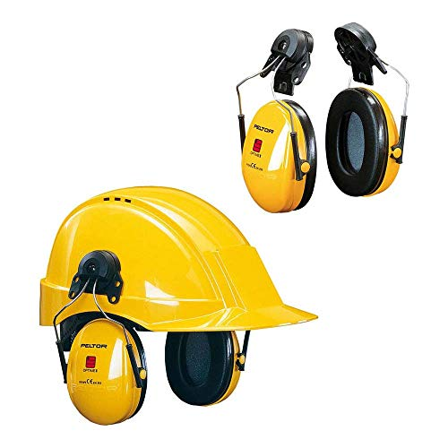 3M Peltor Optime I Kapselgehörschutz, Helmkapsel P3E, SNR 26 dB, Steckbefestigung für Helme mit 30 mm-Schlitz, 1 Stück, gelb