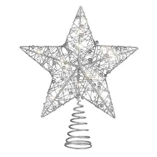 NUOBESTY Silberne Weihnachtsbaumspitze, glitzernde Sterne, Baumspitze für Weihnachtsbaumschmuck oder Heimdekoration, mit Lichtern, 25 x 30 cm