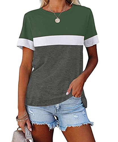 ZIWOCH Women's Summer Color Block Short Sleeve Tunic Tops Crew Neck Casual Basic Comfy Loose Fit T Shirts Army Green