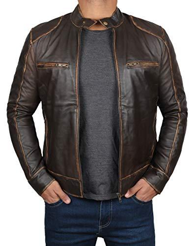 Decrum Brown Leather Jackets for Men   [1100502] Dodge Dark Brown, S
