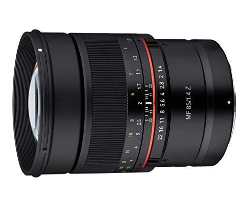 Samyang MF 85mm F1.4 Z Nikon Z - manuelles Objektiv mit 85 mm Festbrennweite für spiegellose Vollformat Nikon Z Kameras oder Nikon F Kameras mit FTZ Adapter, 72mm Filtergewinde, ideal für Portrait