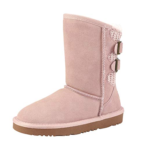 DREAM PAIRS Girls Warm Faux Fur Lined Mid Calf Shearling Winter Snow Boots Sweaty-Buckle-K Pink Size 4 M US Big Kid