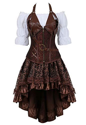 Josamogre Steampunk Corsagenkleid Corsage Kostüm mit asymmetrischer Spitzenrock und Bluse für Karneval Fasching Halloween Braun 4XL