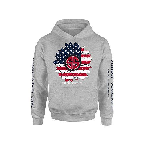 Simply Southern USA Flower Hooded Sweatshirt (Medium) Heather Grey