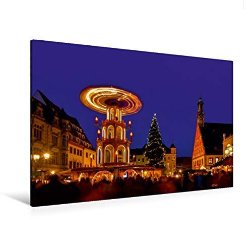 CALVENDO Premium Textil-Leinwand 120 x 80 cm Quer-Format Weihnachtsmarkt Zwickau, Leinwanddruck von Thomas Polske