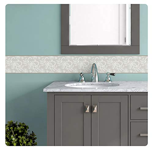 setecientosgramos Cenefa Auto-Adhesiva   Decoración de Pared Cocina & baño, 5 m x 15 cm   Esence