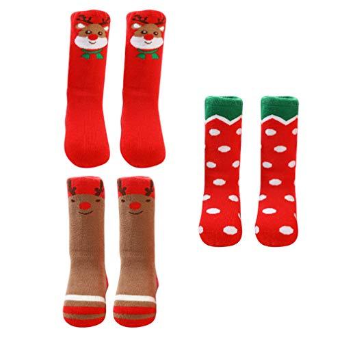 Generic 3 Pairs Weihnachten Baumwolle Socken Verdicken Baumwolle Baby Warme Strümpfe Weihnachten Infant Strümpfe Weihnachten Urlaub Winter Socken für 1-3 Jahre Alt Unisex Infant