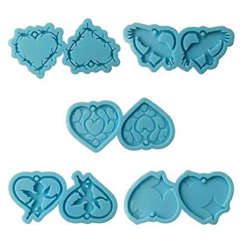 Sweo 1 Unidades de moldes de pendientes con colgante de corazón de resina epoxi, molde de silicona para hacer joyas, manualidades, decoraciones caseras, moldes de arcilla para cerámica