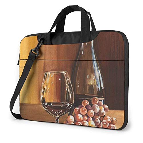 Botella de Vino Tinto Vidrio UVA Barril de Madera Impreso Bolso de Hombro para computadora portátil, Bolso para computadora portátil Bolso de Mensajero de Negocios Maletín