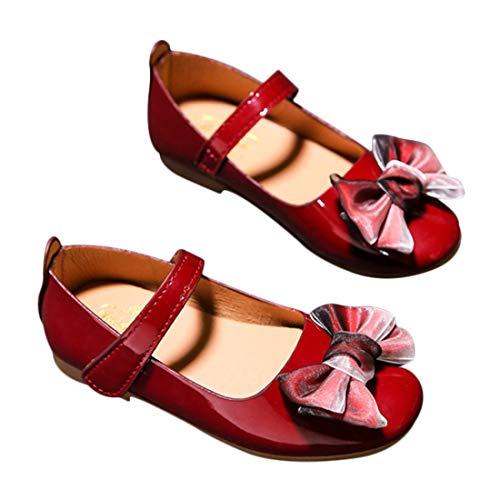 DEBAIJIA Princess Niñas Zapatos 2-9 Años Zapatillas Moda Niños Clásico Hermosa Flor Tendencia Fondo Suave Cuero Baile Caminar EU 30 Vino Tinto(Tamaño Etiqueta 29)