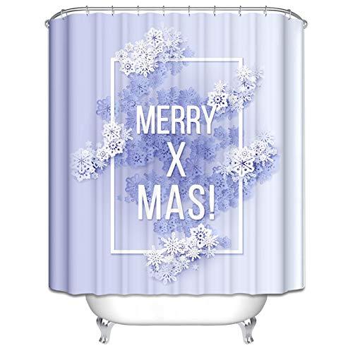 Daesar Polyester-Stoff Duschvorhang Anti-Schimmel Weihnachten Theme Merry X Mas! Duschvorhang Polyester-Stoff Vintage 180x180 cm