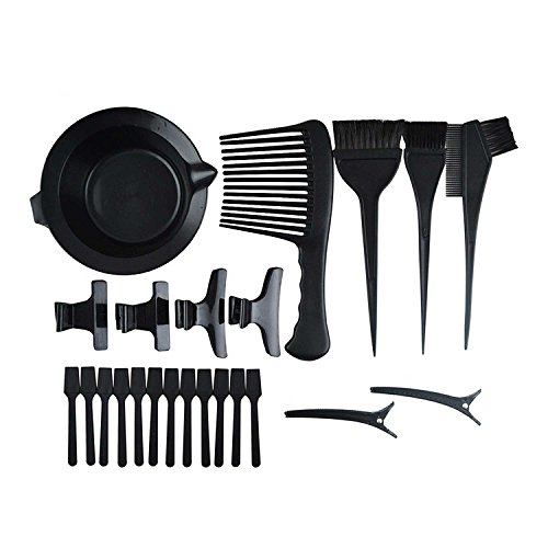 Hair Color Mixing Bowls Dye Hair Brush Salon Hair Coloring Dyeing Kit DIY Hair Coloring Highlights Brush Combs Dye Mixing Bowl Tint Highlighting Tool for Hair Stylist Hair Salon 23PCS Set