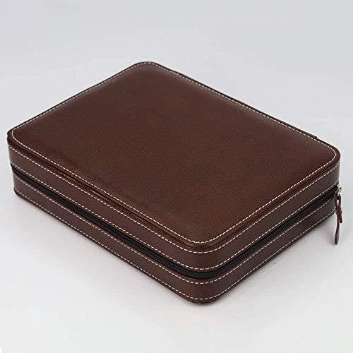 Boxs Watch Watch PU Leather Zipper Watch Jewelry Storage Bag Portable Travel Watch Storage Watch Bag For Gifts To Family LQHZWYC (Color : Brown, Size : 24×18×6cm)
