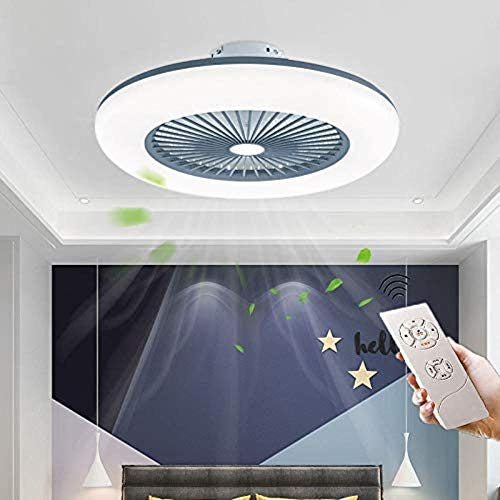 Wodtree Deckenventilator Beleuchtung LED Deckenventilator Licht Einstellbare Windgeschwindigkeit Fernbedienung, Ultra-Quiet Fan Beleuschtung Schlafzimmer, Blau, (Color : Gray)
