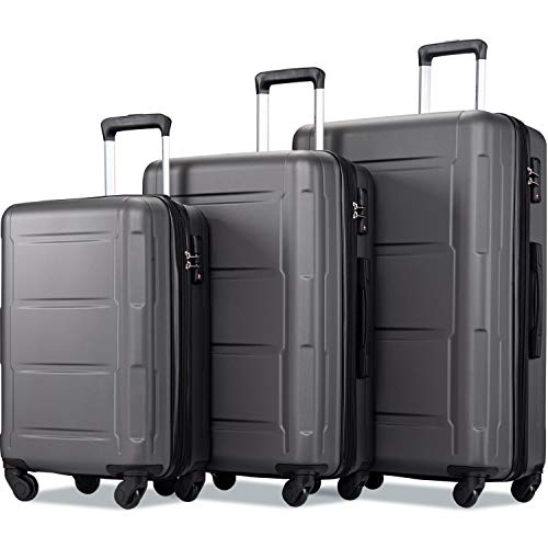 """Merax Luggage Sets 3 Pcs Spinner Suitcase Hardshell Lightweight 20""""24""""28"""" (3 Pcs Set-Black)"""