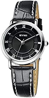EYKI Fashion Classic Lover's Watch Table Quartz Roman Scale Leather Watchband EET8655 Women Female Black