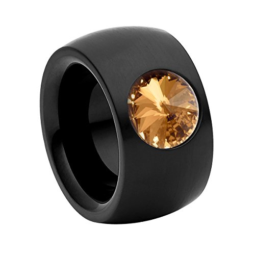 Heideman Ring Damen Coma 14 aus Edelstahl schwarz matt Damenring für Frauen mit Swarovski Stein Kristall Bernstein braun im Fantasie Edelsteinschliff 10mm