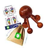Lungcha Traditional Thai Massage Wooden Stick Tool, Reflexology, Acupuncture Point Gua Sha for Body, Foot, Hand, Head, Face, Nose, Neck, Back, Waist Massage (Four Legs Body Massage)