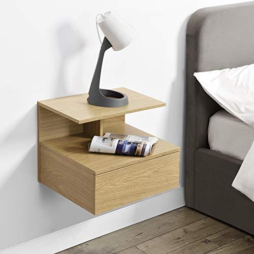 [en.casa] Wandschrank mit Schublade in Holz-Optik Wandnachttisch 40x35x31cm Nachttisch Hängeschrank Wandregal Ablage Schweberegal Schubladenregal