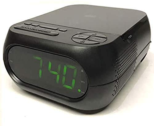ONN ONB15AV202 CD/AM/FM Alarm Clock Radio with USB Port to Charge Devices + Aux-in Jack, Top Loading CD Player Refurbished